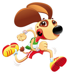 Funny dog is running. Vector and cartoon character.