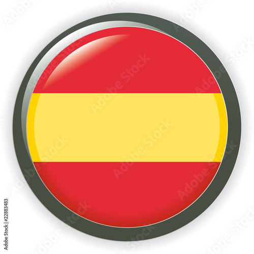 Orb Spain Flag vector button illustration 3D