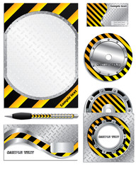 Warning company vector set
