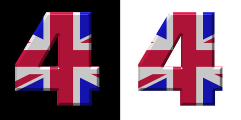 Number 4 showing the UK flag