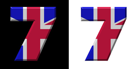 Number 7 showing the UK flag