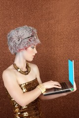futuristic fashion student businesswoman laptop