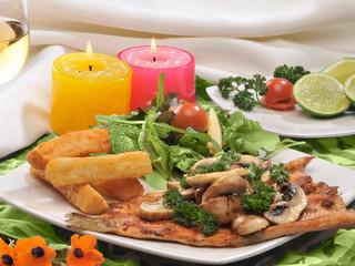 Filete de trucha al horno con champiñones y verduras