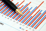 Analyze the trend in the business chart poster