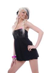Cute blond in black dress