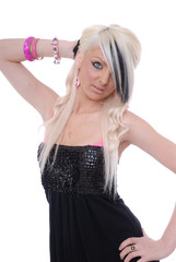 Beautiful blond posing in black