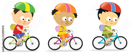 Multi-Ethnic kids biking