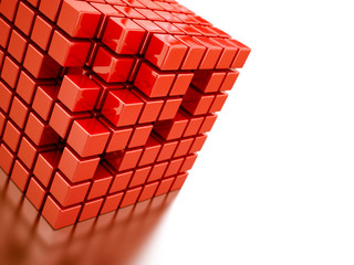 Abstract bright red cubes on a white background