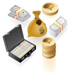 Isometric icons of money