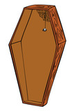Wooden coffin.