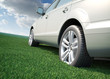 Car standing in a field of grass - ecological transport concept