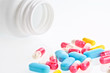 close-up medical pills and tablets
