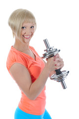 Beautiful girl with a dumbbell.