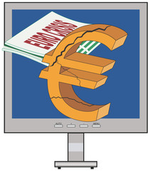 Vector Conceptual Illustration of Euro / Greece Crisis
