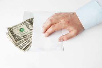 Cash Payment in envelope theme with human hand