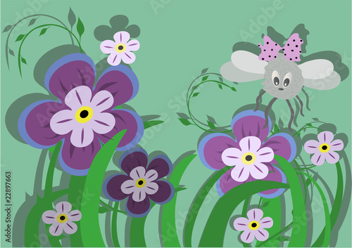 Fun fly and beautiful flowers. Vector illustration.
