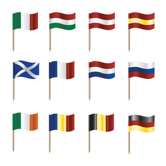 sticky flags of european countries