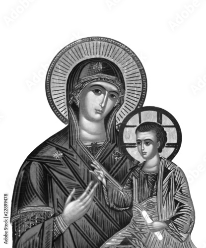 black and white reproduction of a ancient russian icon