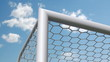 a soccer ball is flying in the goal, slow-motion