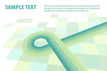 Abstract template with striped green line. Vector