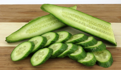 Halved and Sliced Cucumbers