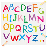 Fototapety クレヨンで書いたアルファベット