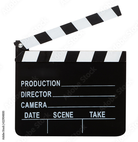 movie clapper with hand made clipping path - 22904800