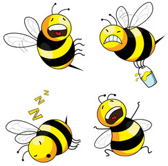 four emotion bee comic character series (vector)
