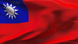 Creased Taiwan satin flag in wind with seams and wrinkle poster