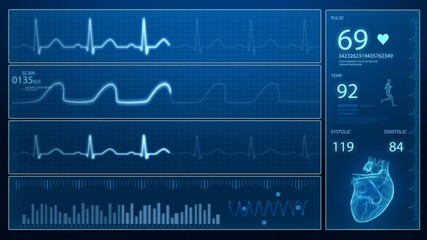 Heart beat monitor - ecg concept in loop