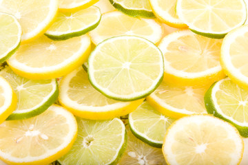 Sliced lemons and limes Close-Up