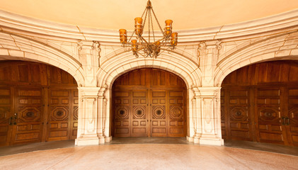 Majestic Classic Arched Doors with Chandelier, Fish-Eye