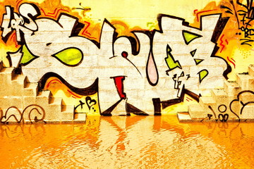 Graffiti and orange water