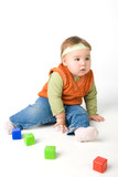 Small girl play with blocks