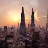 Fototapeta noc - wieżowce - Zachód / Wschód Słońca