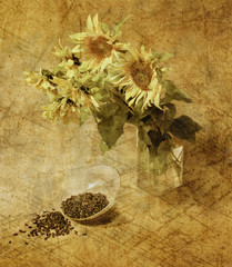 Still-life with sunflowers in grunge and retro style