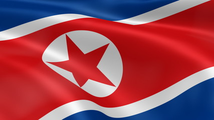 North Korea flag in the wind