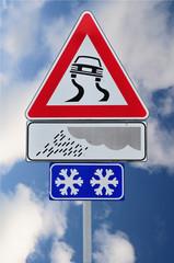 Segnale stradale pericolo strada scivolosa