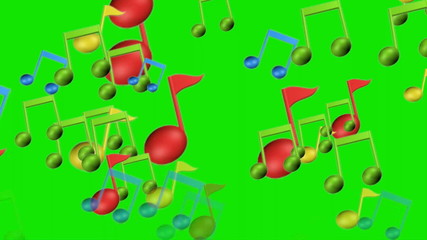 music notes on green screen