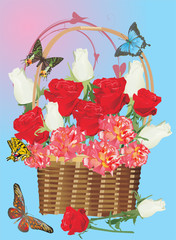 roses in basket and butterflies