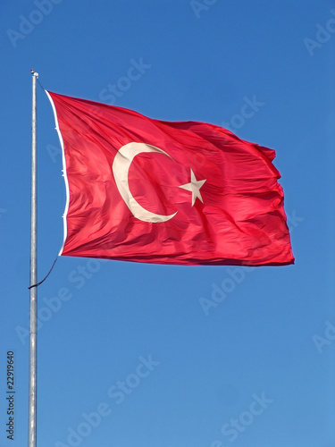 Turkish flag and blue sky Poster
