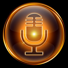 Microphone icon golden, isolated on black background