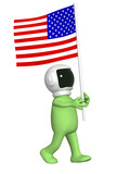 Astronaut with american flag poster