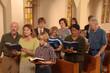 Leinwanddruck Bild - Singing Hymns in Church