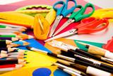 Fototapety Pencils on colorful cardboard