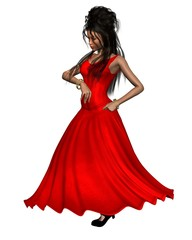 Young Spanish Flamenco Dancer in Red Dress