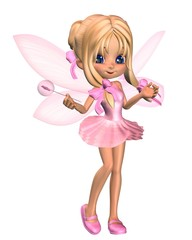 Cute Toon Ballerina Fairy in Pink - standing