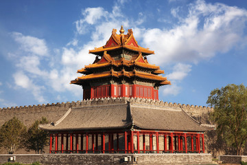 Beautiful scenery at a corner turret of the Forbidden City