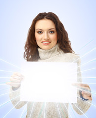 woman holding an empty billboard over background