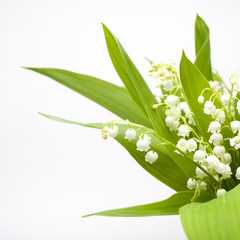 Lily-of-the-valley bouquet, half-veiw; isolated on white